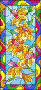 Stained glass illustration with daffodils on blue background,vertical orientation