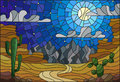 Stained glass illustration with desert landscape, cactus in a of dunes, starry sky and moon