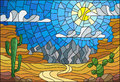 Stained glass illustration with desert landscape, cactus in a lbackground of dunes, sky and sun