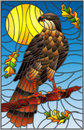 Stained glass illustration with fabulous Falcon sitting on a tree branch against the sky