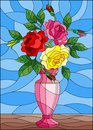 Stained glass illustration with floral still life, colorful bouquet of roses in a pink vase on a blue background Royalty Free Stock Photo