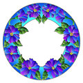 Stained glass illustration flower frame, blue flowers and leaves on a white background