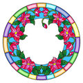 Stained glass illustration flower frame, pink flowers and leaves on a white background