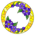 Stained glass illustration flower frame, purple flowers and leaves in yellow frame on a white background