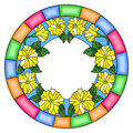 Stained glass illustration flower frame, yellow flowers and leaves on a white background