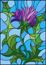 Stained glass illustration flower of a purple Thistle on a blue background Royalty Free Stock Photo