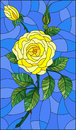 Stained glass illustration flower of yellow rose on a sky background