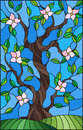 Stained glass illustration with a flowering tree on blue sky background