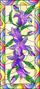 Stained glass illustration with flowers, buds and leaves of bluebells flowers,vertical orientation