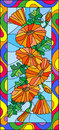 Stained glass illustration with flowers, buds and leaves of calendula,vertical orientation