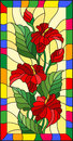 Stained glass illustration with flowers, buds and leaves of Calla flower in a bright frame