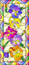 Stained glass illustration with flowers, buds and leaves of pansy,vertical orientation