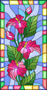 Stained glass illustration with flowers, buds and leaves of pink Calla flower in a bright frame