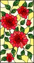 Stained glass illustration  with flowers, buds and leaves of  red roses on a yellow background Royalty Free Stock Photo