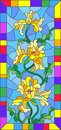 Stained glass illustration with flowers, buds and leaves of yellow iris in bright frame