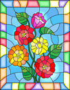 Stained glass illustration with flowers, buds and leaves of zinnias on a blue background