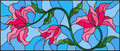 Stained glass illustration with flowers, leaves and buds of pink lilies on a blue background