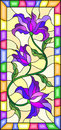 Stained glass illustration with flowers, leaves and buds of purple lilies on a yellow background with bright frame