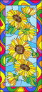 Stained glass illustration  with flowers, leaves and buds of the sunflower,on a blue background in a bright frame Royalty Free Stock Photo