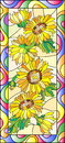 Stained glass illustration  with flowers, leaves and buds of the sunflower,on a yellow background in a bright frame Royalty Free Stock Photo