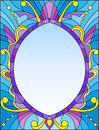 Stained glass illustration frame with abstract patterns and swirls on a blue background