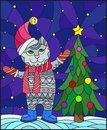 Stained glass illustration with funny cat in Santa hat and Christmas tree on a background of snow and starry sky Royalty Free Stock Photo