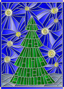 Stained glass illustration with image of a Christmas tree against the starry sky Royalty Free Stock Photo