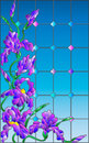 Stained glass illustration with iris , imitation stained glass Windows