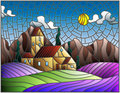 Stained glass illustration landscape with a lonely house amid lavender fields, mountains and sky