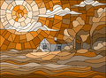 Stained glass illustration  landscape with a lonely house on a background of sky and sea,brown tone , Sepia Royalty Free Stock Photo