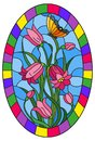 Stained glass illustration with leaves and bells flowers, pink flowers and butterfly on sky background in a bright frame , oval i Royalty Free Stock Photo