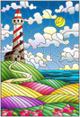 Stained glass illustration lighthouse on the backdrop of flowering fields against cloudy sky and sun