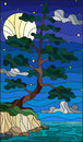 Stained glass illustration with a lone pine tree standing on the Bank on the background of starry sky, moon and water Royalty Free Stock Photo