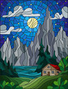 Stained glass illustration  with a lonely house on a background of pine forests, lake, mountains and starry sky with a moon and cl Royalty Free Stock Photo
