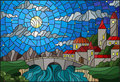 Stained glass illustration with the old town and bridge over a river with mountains in the background, the cloudy sky and moon