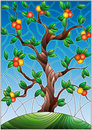 Stained glass illustration with an orange tree standing alone on a hill against the sky