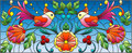 Stained glass illustration with a pair of abstract birds , flowers and patterns on a blue background , horizontal image