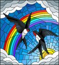 Stained glass illustration with a pair of swallows on the background of sky, sun , clouds and rainbow