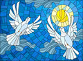 Stained glass illustration with a pair of white doves on the background of the daytime sky and clouds