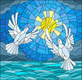 Stained glass illustration with a pair of white doves on the background of the daytime sky, water and clouds