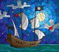 Stained glass illustration  with a pirate ship in the moon, a cloudy sky and ocean Royalty Free Stock Photo
