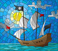 Stained glass illustration  with a pirate ship in the sun, a cloudy sky and ocean Royalty Free Stock Photo