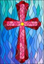Stained glass illustration with a red cross on a blue wavy background Royalty Free Stock Photo