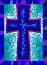 Stained glass illustration on religious themes, stained glass window in the shape of a blue Christian cross , on a blue backgro