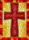 Stained glass illustration on religious themes, stained glass window in the shape of a red Christian cross , on a yellow backgroun Royalty Free Stock Photo