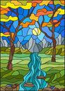 Stained glass illustration with a rocky Creek in the background of the Sunny sky, mountains, trees and fields,autumn landscape