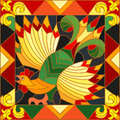 Stained glass illustration rooster abstract bright frame, the imitation of painting Khokhloma