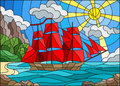 Stained glass illustration with sailboats against the sky, the sea and the sunrise