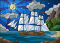 Stained glass illustration with sailboats against the starry sky, the sea and the moon
