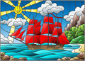 Stained glass illustration with sailboats with red sails against the sky, the sea and the sunrise